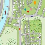 План иллюстрации руки вычерченный деревни выше с ландшафтом баллонов воздуха зеленым и минимализмом домов покрашенными для печате иллюстрация вектора