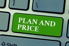 План и цена показа знака текста Цена схематической установки фото пристойная для продукта к продаже согласовывая рынок стоковое фото rf