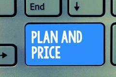 План и цена текста сочинительства слова Концепция дела для устанавливать пристойное цену для продукта к продаже согласовывая рыно стоковые фотографии rf