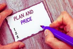 План и цена текста сочинительства слова Концепция дела для устанавливать пристойное цену для продукта к продаже согласовывая рыно стоковые фото