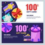 План карточки подарка, ваучера, сертификата или дизайна вектора талона Шаблон знамени скидки для приветствий праздников сюрприза иллюстрация штока