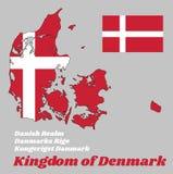 План карты и флаг Дании, оно красный с белым скандинавским крестом который удлиняет к краям флага иллюстрация штока