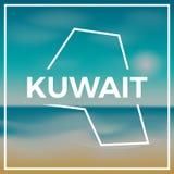 План карты Кувейта грубый против фона  Стоковое Изображение