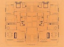 План квартиры - ретро светокопия архитектора бесплатная иллюстрация