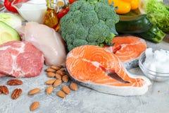 План питания диеты keto здорового карбюратора еды еды низкого ketogenic стоковые фотографии rf