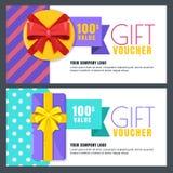 План подарочного сертификата, сертификата или дизайна вектора талона Знамя скидки или шаблон поздравительной открытки праздников иллюстрация штока