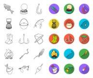 План рыбной ловли и остатков, плоские значки в установленном собрании для дизайна Снасть для удить сеть запаса символа вектора бесплатная иллюстрация