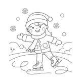 План страницы расцветки кататься на коньках девушки шаржа kiting зима спортов лыжи реки снежная Книжка-раскраска для детей иллюстрация штока
