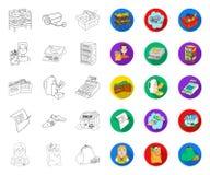 План супермаркета и оборудования, плоские значки в установленном собрании для дизайна Приобретение сети запаса символа вектора пр бесплатная иллюстрация