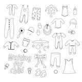 План установил одежд младенца для новорожденных бесплатная иллюстрация