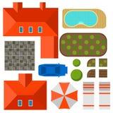 План частного взгляд сверху иллюстрации вектора дома внешнего домашнего ландшафта Стоковая Фотография RF