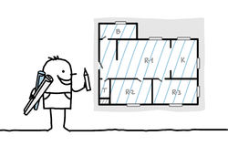 план чертежа архитектора квартиры иллюстрация вектора