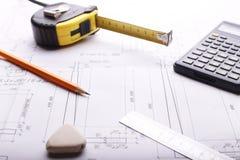 План - чертеж на таблице Стоковые Изображения RF