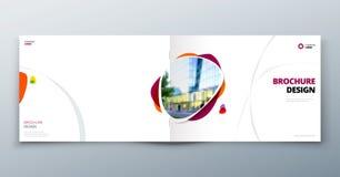 План шаблона брошюры, годовой отчет дизайна крышки, кассета, рогулька или буклет в A4 с геометрическими формами вектор иллюстрация вектора