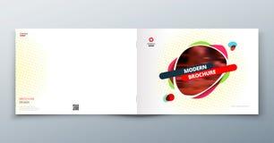 План шаблона брошюры, годовой отчет дизайна крышки, кассета, рогулька или буклет в A4 с геометрическими формами вектор Стоковые Фото