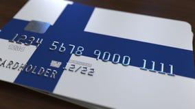 Пластиковая карта банка отличая флагом Финляндии Анимация финской национальной банковской системы родственная иллюстрация вектора