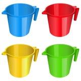 Пластиковая кружка, кувшин, контейнер, красный желтый голубой зеленый цвет, утварь, литр тома tumbler иллюстрация штока