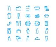 Пластиковая упаковка, устранимая линия значки tableware Продукт пакует, контейнер, бутылка, банка, столовый прибор плит иллюстрация вектора