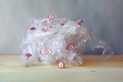 Пластиковая утилизация отходов, пластиковое искривление с красивыми розовыми свежими цветками маргаритки wildflowers на деревянно стоковое изображение rf