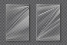 Пластиковая фольга Прозрачный модель-макет обруча целлофана, реалистическая ясная оболочка полиэтилена еды Лист фольги продукта в иллюстрация вектора