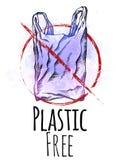 Пластиковый освободите Линия чертеж полиэтиленового пакета с насиживать и фиолетовая акварелью брызгает с красным знаком запрета  иллюстрация штока