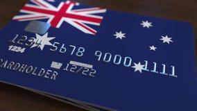Пластичная карточка банка отличая флагом Австралии Анимация национальной банковской системы родственная видеоматериал