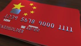 Пластичная карточка банка отличая флагом Китая Анимация национальной банковской системы родственная акции видеоматериалы