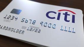Пластичная карточка банка с логотипом Citibank Редакционная схематическая 3D анимация иллюстрация штока