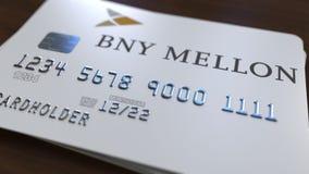Пластичная карточка с логотипом банка Нью-Йорка Mellon BNY Редакционная схематическая 3D анимация иллюстрация вектора