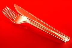Пластичные нож и вилка Стоковое Изображение