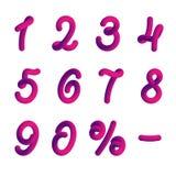 Пластичные номера в стиле 3d Стоковое Изображение RF