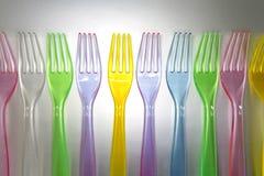 Пластичные цветастые вилки Стоковые Изображения