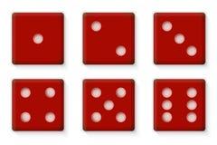 Пластичный красный цвет Dices для иллюстрации вектора казино Стоковая Фотография