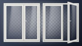 Пластичный стеклянный вектор двери Раскрытый и закрытый Элемент квартиры Изолированный на прозрачной иллюстрации предпосылки бесплатная иллюстрация