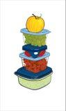 Пластмасовые контейнеры с едой, иллюстрацией вектора Стоковое Изображение RF
