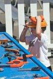 пластмасса мальчика играя инструменты Стоковое фото RF