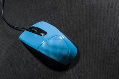 Пластмасса мыши маленького компьютера Голубой цвет Черная предпосылка черный провод Пустое пространство для надписи электроника стоковая фотография rf