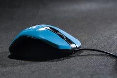 Пластмасса мыши маленького компьютера Голубой цвет Черная предпосылка черный провод Пустое пространство для надписи электроника стоковые изображения rf