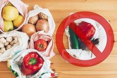 Пластмасса пользы запрета одиночная Zero ненужная концепция покупок Свежие бакалеи в многоразовых сумках eco и овощи в пластиково стоковые изображения
