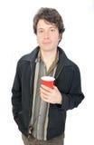 пластмасса человека удерживания чашки Стоковая Фотография