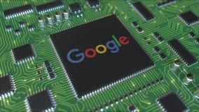 Плата с печатным монтажом компьютера или PCB с логотипом Google Схематическая редакционная 3D анимация иллюстрация штока