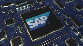 Плата с печатным монтажом компьютера или PCB с логотипом SE SAP Схематическая редакционная 3D анимация иллюстрация вектора