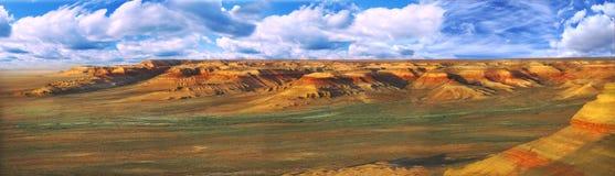 плато ustyurt панорамы kazakhstan стоковое фото
