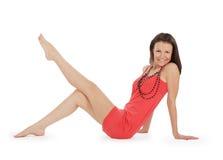 платье брюнет над представлять красную белизну Стоковое фото RF