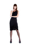 платье выравнивая полнометражную сексуальную женщину съемки Стоковая Фотография RF