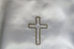 платье детали christening стоковое изображение