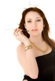 платье сигареты вручает ее женщину держателя Стоковое Изображение RF