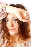 Плача женщина с смазанным mascara Стоковые Изображения RF