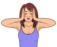 Плача красивая женщина иллюстрация вектора