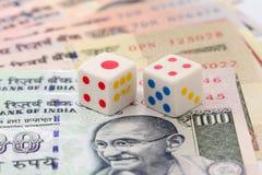 Плашки на примечаниях рупии Стоковые Изображения RF